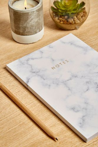 White Marble Design A5 Notebook -  Central Notebook Made in England